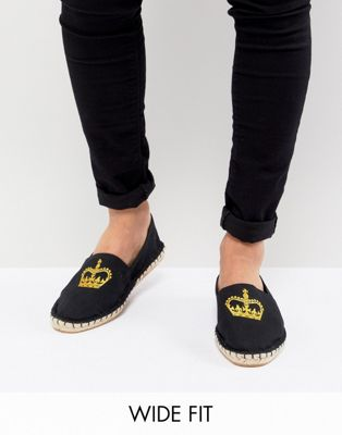 ASOS Wide Fit Espadrilles In Black Canvas With Crown Embroidery