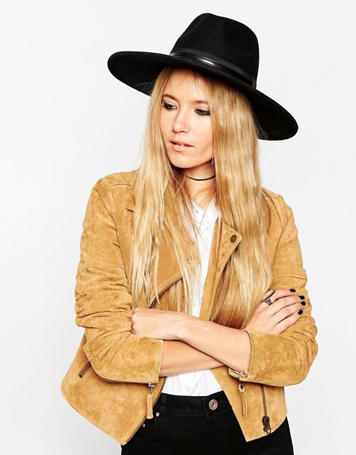 ASOS Wider Brim Felt Fedora With PU & Grosgrain Trim