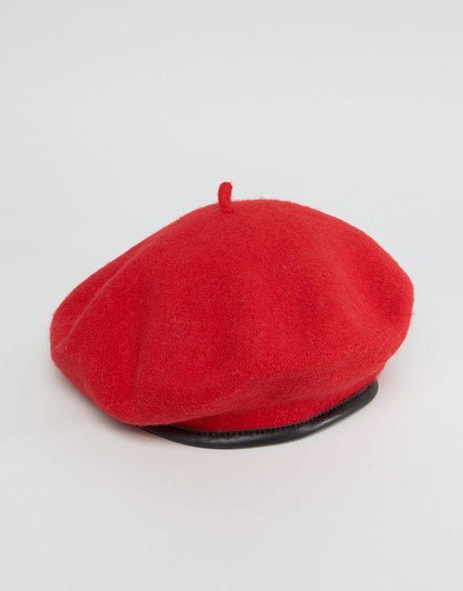 ASOS DESIGN BERET IN RED