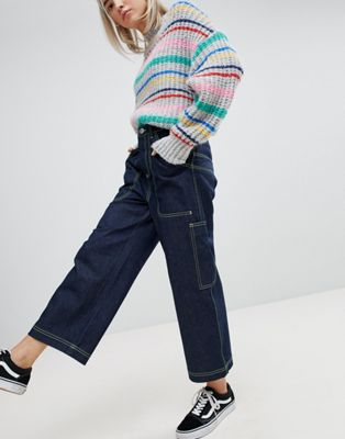 ASOS Workwear Skater Jeans with Neon Threads in Clean Indigo