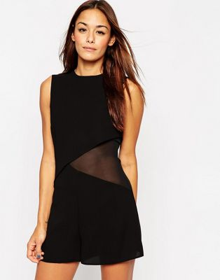 Image 1 of ASOS Woven Double Layer Asymmetric Romper with Sheer Side