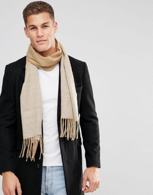 ASOS Woven Scarf In Camel And Gray