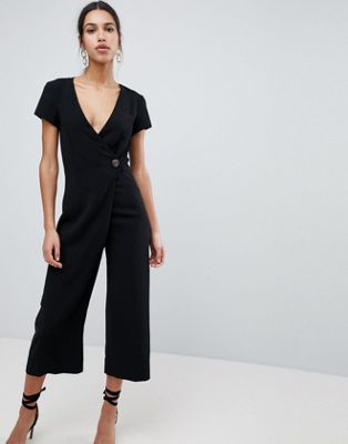 ASOS Wrap Jumpsuit with Horn Button and Culotte Leg