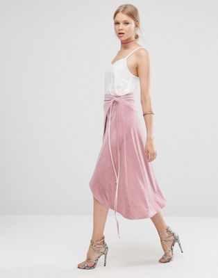 Image 1 of ASOS Wrap Midi Skirt in Velvet