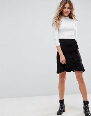 ASOS Wrap Mini Skirt with Tie Waist