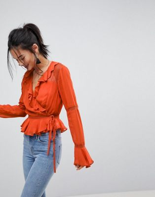ASOS Wrap Top With Ruffle and Lace Insert