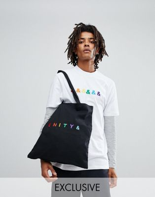 ASOS x GLAAD Tote Bag With Unity Embroidery In Black