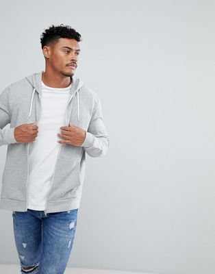 ASOS Zip Up Hoodie In Grey marl