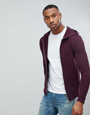 ASOS Zip Up Muscle Hoodie In Burgundy