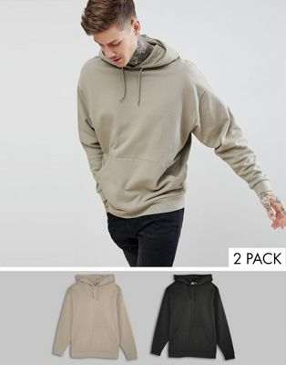 ASOS DESIGN - Set van 2 oversized hoodies in zwart/beige