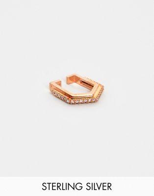 Astrid & Miyu 18k rose gold crystal hexagon ear cuff