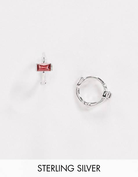 Astrid & Miyu exclusive sterling silver huggy hoop earrings with red stone