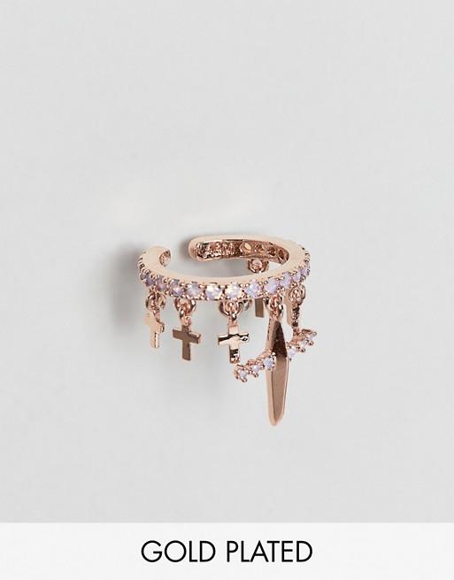 Image 1 of Astrid & Miyu mystic cross 18k rose gold plated opal stone ear cuff