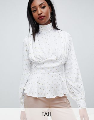 Атласная блузка с высоким воротом Fashion Union Tall