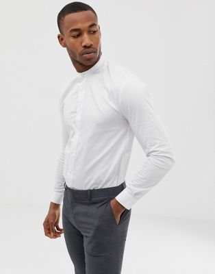 Avail London muscle fit shirt in white with grandad collar