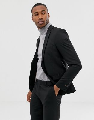 Avail London single breasted skinny suit jacket in black