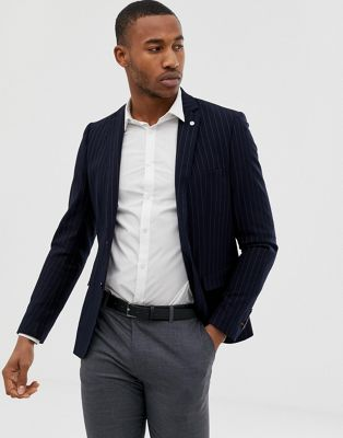 Avail London skinny fit pinstripe suit jacket in navy