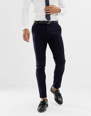 Avail London skinny fit pinstripe suit pants in navy