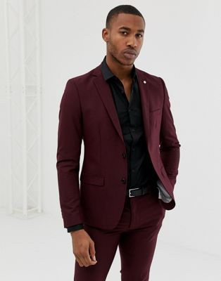 Avail London skinny fit single breasted suit jacket in burgundy