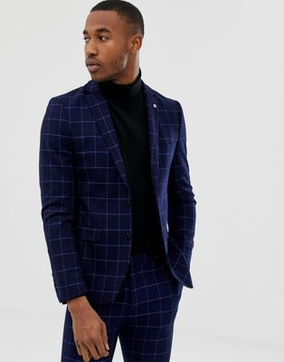Avail London skinny fit single breasted windowpane suit jacket in blue navy