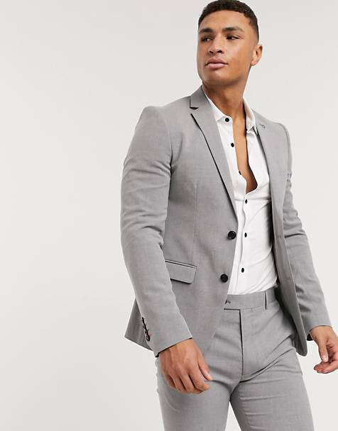 Avail London skinny fit suit jacket in light grey
