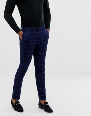 Avail London skinny fit windowpane suit pants in blue navy