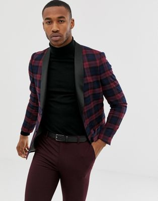 Avail London skinny plaid tuxedo jacket in burgundy