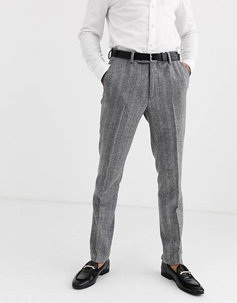 Avail London skinny suit trousers in grey herringbone tweed