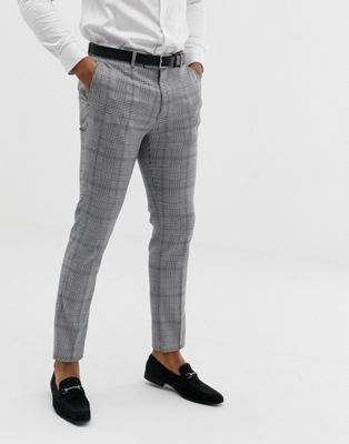 Avail London slim fit prince of wales check suit pants in black and white