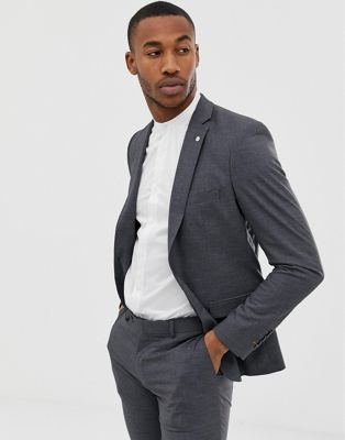 Avail London slim fit single breasted suit jacket in gray