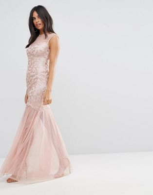 Image 1 of AX Paris Blush Sequin Bodice Chiffon Maxi Dress