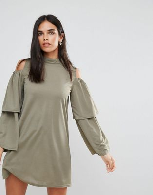 Image 1 of AX Paris Cold Shoulder Frill Sleeve Shift Dress