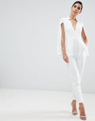 AX Paris deep v caped jumpsuit