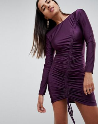 Image 1 of AX Paris Long Sleeve Ruched Mini Dress