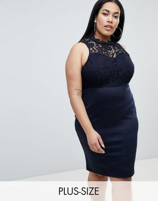 Image 1 of AX Paris Plus Lace Panel Pencil Dress