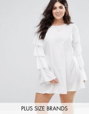 AX Paris Plus Ruffle Sleeve Shift Dress