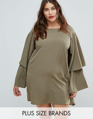 AX Paris Plus Tiered Sleeve Dress