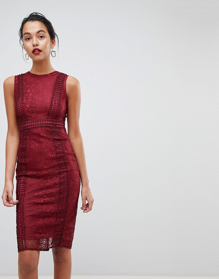 Ax Paris Premium Lace Midi Dress-Red – AX Paris online sale