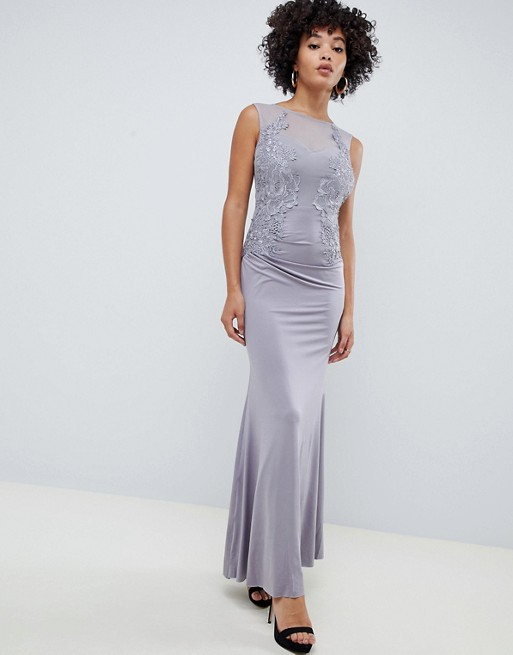 Image 1 of AX Paris racer neck maxi dress with lace detail