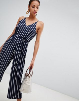 Image 1 of AX Paris striped culotte jumpsuit