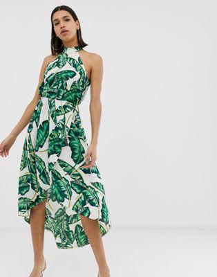 AX Paris tropical print halterneck midi dress