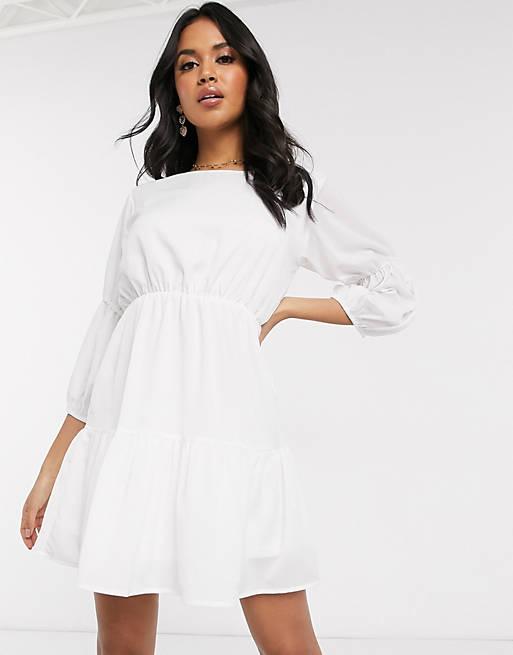 AX Paris - Vestito corto crema a balze