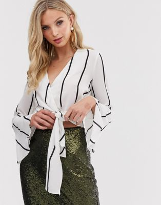 AX Paris wrap over flared sleeve blouse
