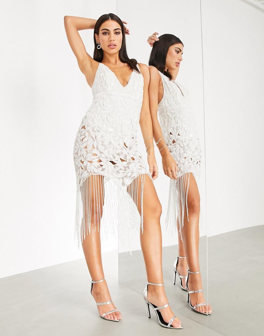 Ажурное платье миди на бретелях с отделкой пайетками ASOS EDITION-Белый