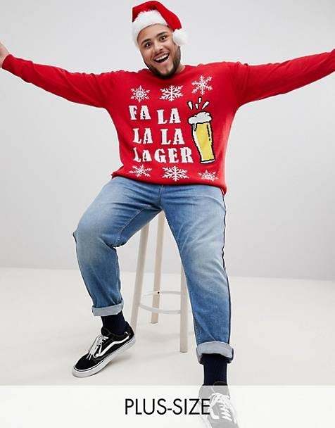 Badrhino Big christmas la la la sweater in red