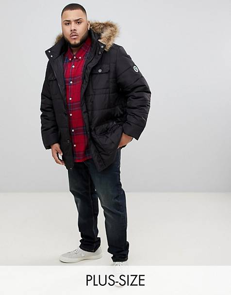 BadRhino Big Parka With Faux Fur Hood In Black