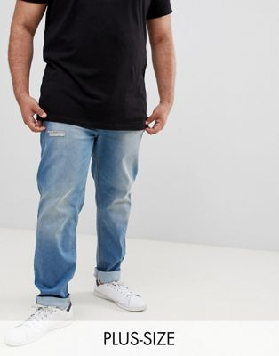 BadRhino Big Slim Fit Stretch Jean In Mid Blue With Rip & Repair