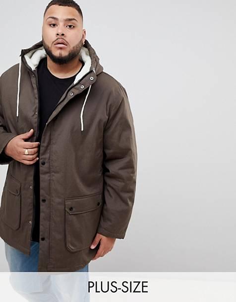 Badrhino Big teddy fleece lined parka in khaki