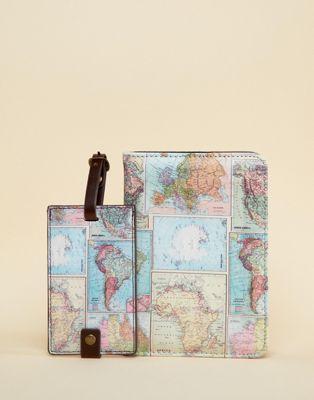 Багажная бирка и обложка для паспорта с принтом карты мира Typo
