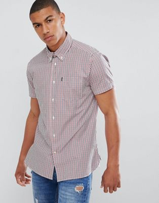 Barbour Alston short sleeve checked shirt in red